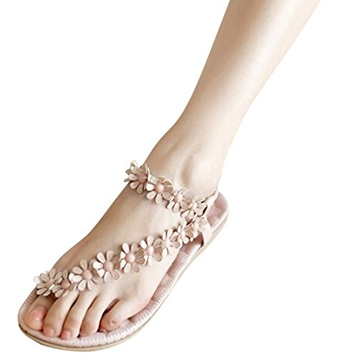 casual scarpe Infradito d'estate Fiori 1 Vacanza Accessorio Rosa Piatte Minetom Sandali Dolci Boemi con Donne Elastici wBxq5UtE