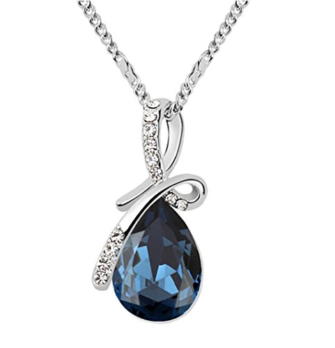 Gold Plated Small Size Swarovski Crystal Elements Eternal Love Teardrop Pendant Necklace Fashion Jewelry for Women (Dark ()