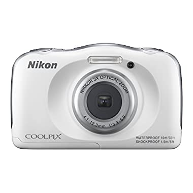 Nikon COOLPIX S33 Waterproof Digital Camera (White)