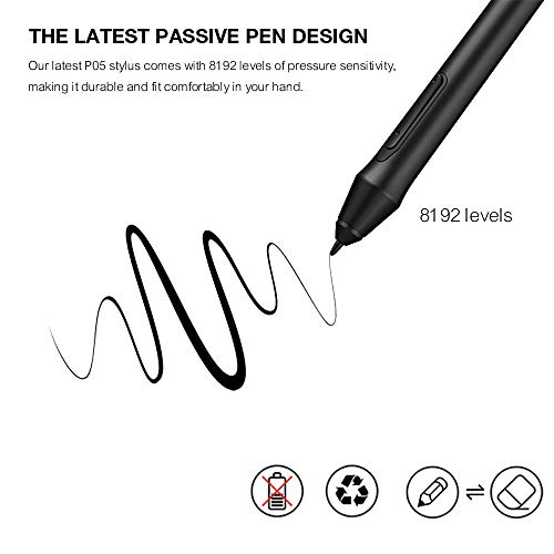 XP-Pen P05 Graphics Drawing Tablet Pen Battery-Free Stylus with 8192 Levels of Pressure Sensitivity Compatible with Deco 03/Star G640S