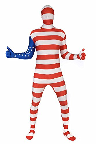 "USA Original Flag Morphsuit Fancy Dress Costume - size Large - 5""5-5""9 (163cm-175cm)"