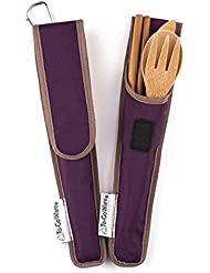 Bamboo Travel Utensils   To Go Ware Utensil Set With Carrying Case  (Mulberry)