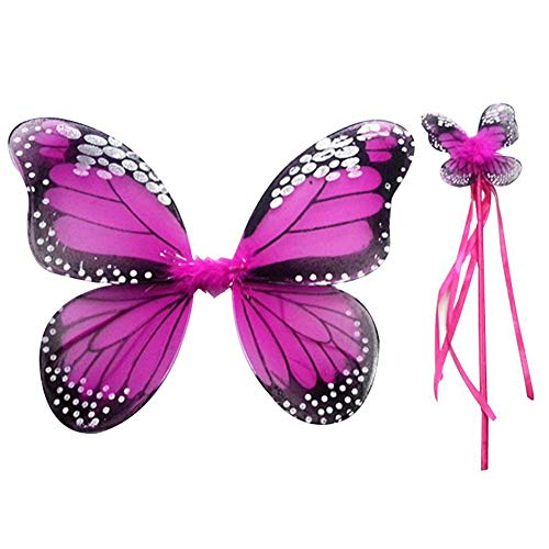 Weixinbuy Girls Fairy Wings Butterfly Princess Dress-up 2 Pcs Halloween Party Fairy Costumes with Wand -