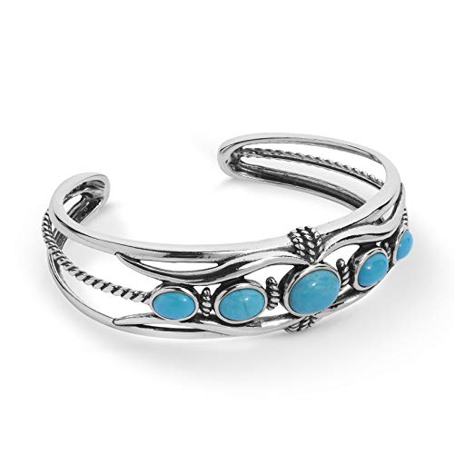 (American West Sterling Silver Blue Turquoise Gemstone 5-Stone Cuff Bracelet Size Medium)
