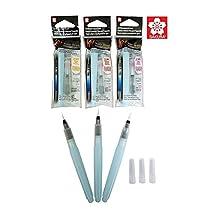 Sakura KOI watercolor brush pens assorted tip sizes (Fine, medium, large), self moisturizing art water brush pen set for watercolor painting art supplies - 3 sizes each with 9ml water tank