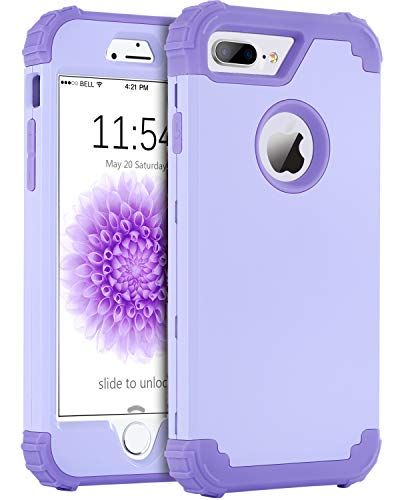 BENTOBEN Case for iPhone 8 Plus, Case for iPhone 7 Plus, 3 in 1 Hybrid Hard PC Soft Silicone Heavy Duty Rugged Bumper Shockproof Anti Slip Full-Body Protective Cases for iPhone 8 Plus/7 Plus, Purple