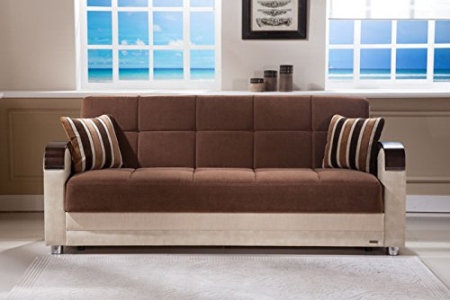 Luna Troya Brown with Cream Vinyl Convertible Sofa Bed by Sunset