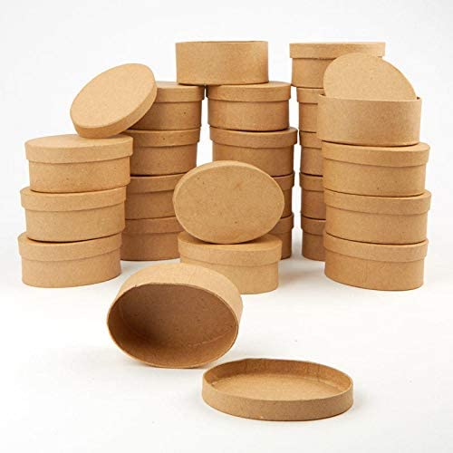 Factory Direct Craft Oval Paper Mache Boxes with Lids Package of 4 Boxes