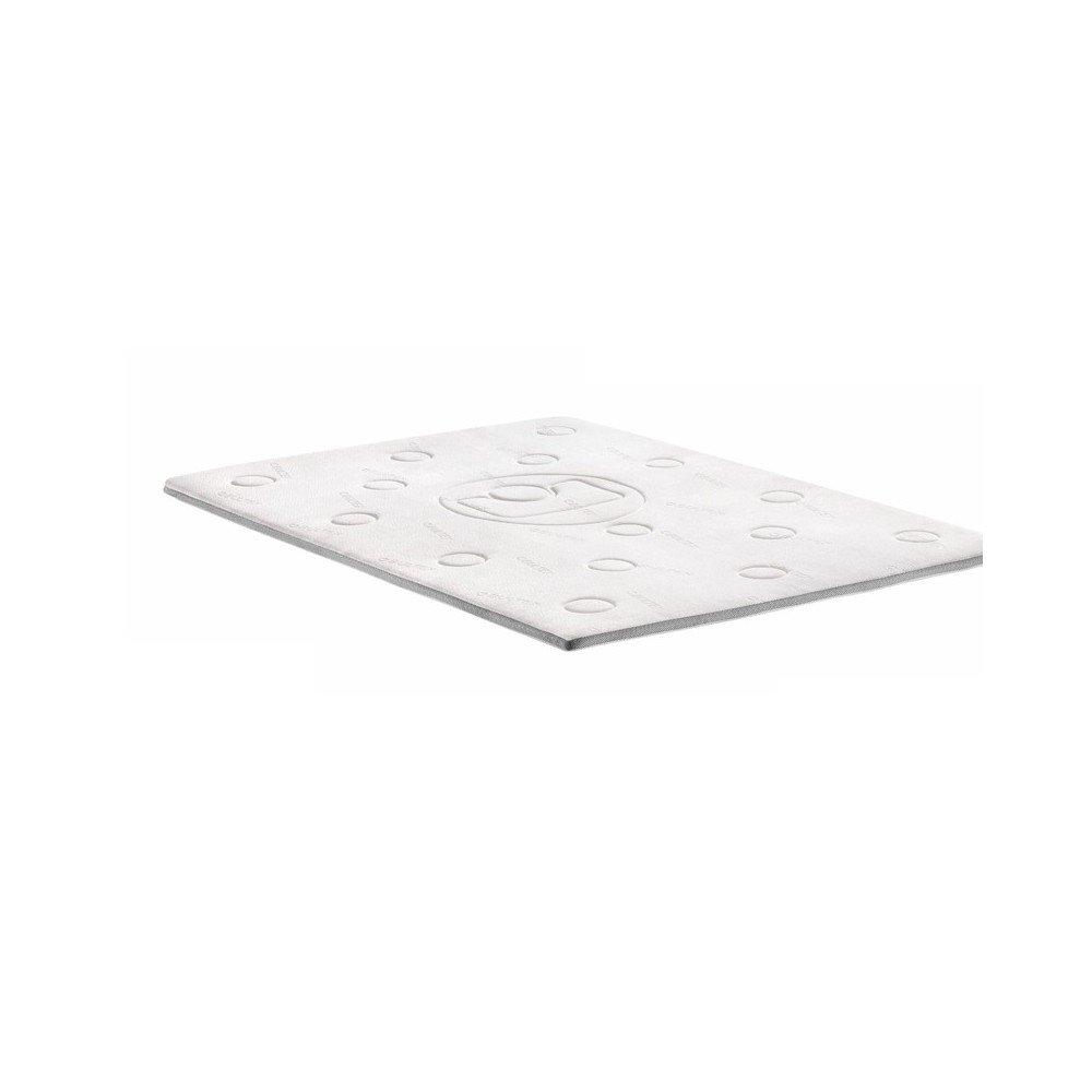 Memo surmatelas 90x190 cm - mémoire de forme - 40 kg-m3 - blanc et gris - 1 personne
