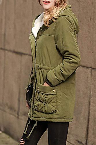 Confortevole Verde Con Hx Anteriori Invernali Lunga Cerniera Coulisse Chic Solidi Colori Tasche Donna Manica Outerwear Giacca Fashion Cappuccio Calda Ragazza Outwear Giaccone 1w4EqxgwU