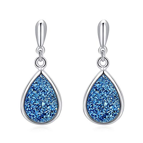 Ellena Rose Sterling Silver Natural Druzy Earrings - 925 Sterling Silver with 14K Gold Plating and 100% Natural Druzy Earrings for Women, Teardrop Shaped Earrings (Blue Druzy and White Gold Plated) (Drop Quartz Drusy)