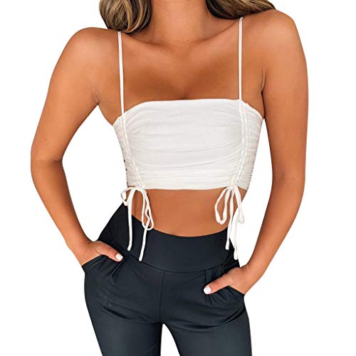 Women's Sexy Frill Smocked Crop Tank Top, Tie Shoulder Strap Vest, Sleeveless Spaghetti Strap Cami Blouse White