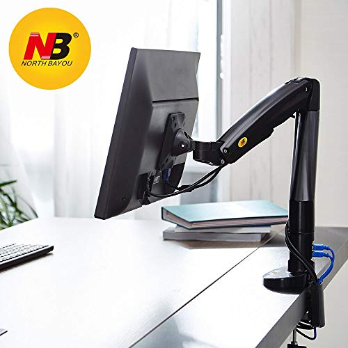 North Bayou Monitor Desk Mount Stand Full Motion Swivel Monitor Arm Gas Spring for 22''-35'' Computer Monitor from 6.6 to (Single Arm Extension)