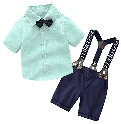 SANGTREE Boys Dress Clothes, Toddlers Boys Short Sleeves Button Down Dress Shirt with Bow - tie + Suspender Shorts Set Summer Gentlemen Baby Tuxedo Outfit, Green, Tag 110 = 2-3 Years