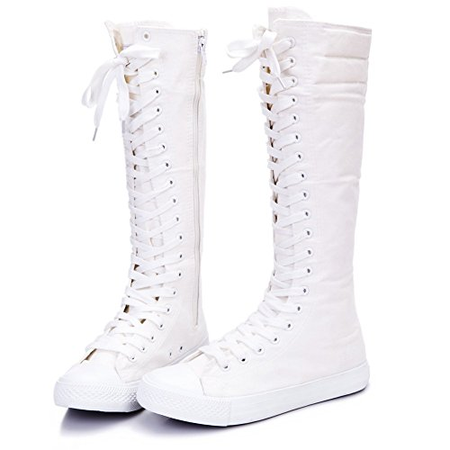 NEWCOSPLAY Women's Lace Up Tall Punk Dancing Canvas Boots (US10, White 801)]()