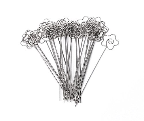 - Honbay DIY Flower Shape Ring Loop Craft Wire Clip Table Card Note Photo Memo Holder Metal Clamp Clay Cake Decoration Accessories, 30 Piece