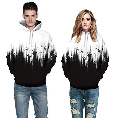 Halloween Costumes,Women Men Hoodie Sweatshirt Skeleton 3D Print Long Sleeve Pullover Top