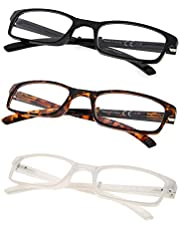 3-Pack Folding Reading Glasses with Unique Spring Hinges