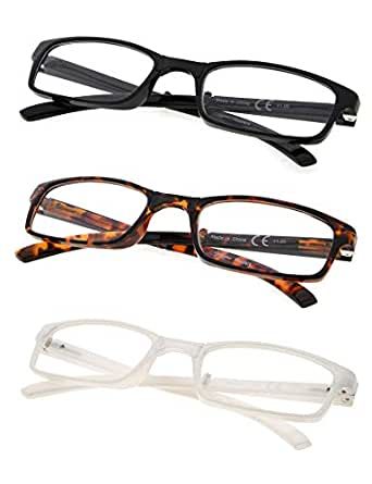 3-Pack Folding Reading Glasses with Unique Spring Hinges +1.5