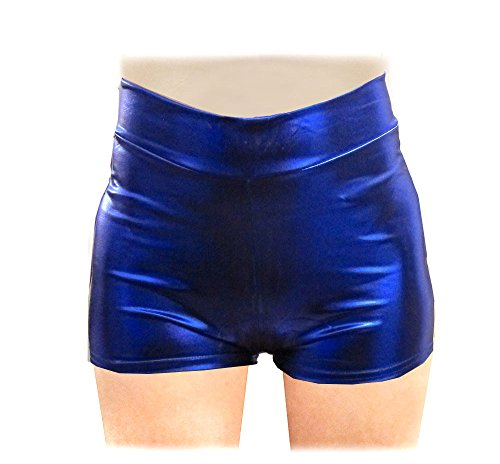 SACASUSA (TM) Shiny Stretchy Metallic Mini Shorts Hot Pants in Royal Blue Small ()