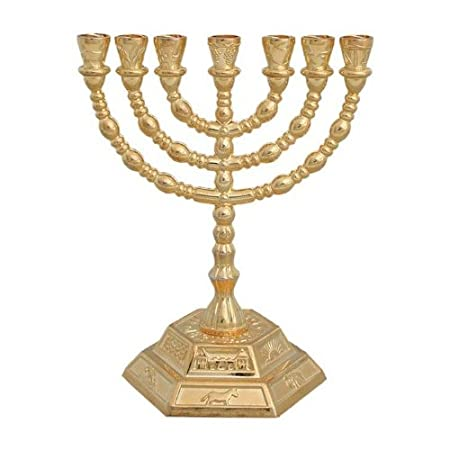 Menorá de las 12 tribus de Israel con 7 brazos y base hexagonal, dorado: N/A: Amazon.es: Hogar