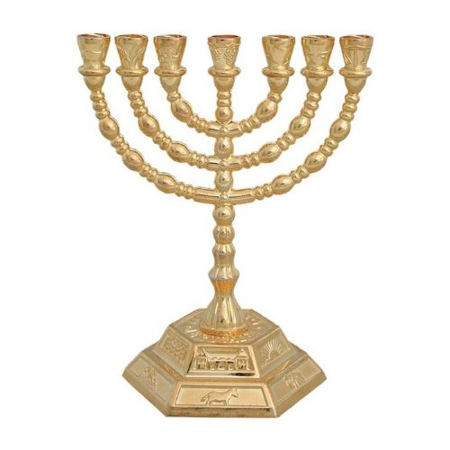 7 Branch Hexagonal Base 12 Tribes of Israel Menorah in Gold by World Of Judaica