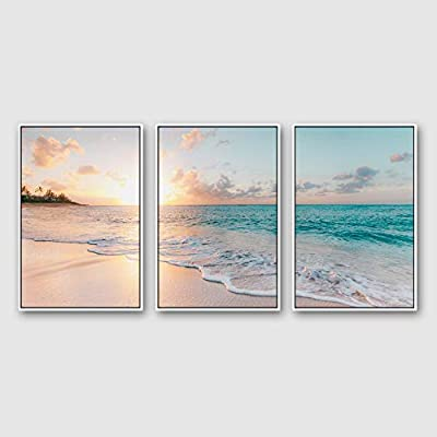Framed for Living Room Bedroom Ocean Sea Beach for x3 Panels, Created By a Professional Artist, Beautiful Portrait