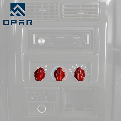 Opar Red Air Conditioning Button Accent for 1997 - 2006 Jeep Wrangler TJ & Unlimited (Tj Buttons)