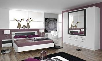 Rauch Schlafzimmer Burano, 4-teilig weiß/grau-metallic weiß/grau-metallic,  BETT180X200,SCHRANK226/212/56