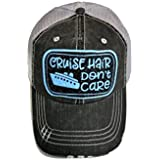 Spirit Caps Blue/Black Glitter Cruise Hair Don't Care Grey Trucker Cap Hat
