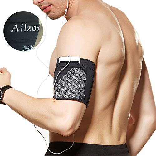 Ailzos Sports Running Armband, Cell Phone Armband Exercise Arm Holder for Running, Fitness and Gym Workouts Phone Armband Sleeve Fits iPhone X/8/7 Plus/7/6,Samsung Galaxy S9/S8/S7,Sony,LG HTC, Black,L from Ailzos