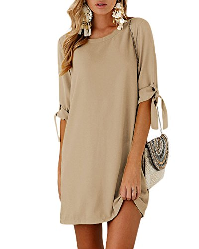 YOINS Women Mini Dresses Summer T Shirt Solid Crew Neck Tunics Self-tie Half Sleeves Blouse Dresses Khaki S