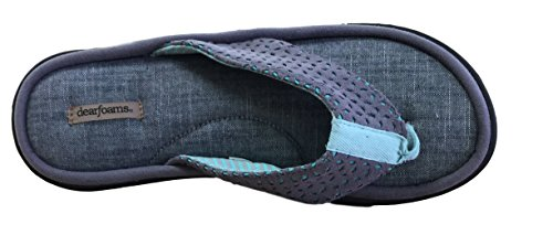 Dearfoams Mujeres Material Mixed Thong Slipper Excalibur Microfiber Suede
