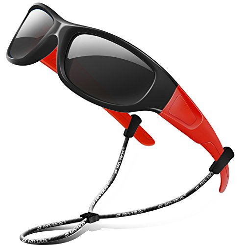 Neck Glass Baseball Shade - RIVBOS Rubber Kids Polarized Sunglasses With Strap Glasses shades for Boys Girls Baby and Children Age 3-10 RBK037(Black&Red,BlackPolarizedLens)
