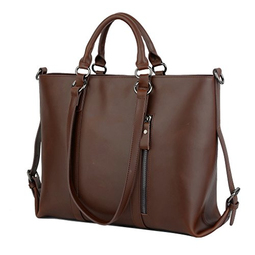 YALUXE Women's Urban Style 3-Way Crazy Horse Leather Work Tote Shoulder Bag