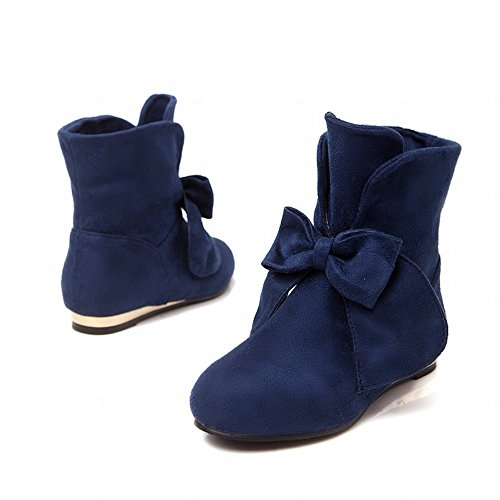 Show Womens Shine high Infront Blue Charm Boots Bows Nubuck Ankle 4r467W