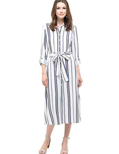 Blu Pepper Women's Button Down Stripe Midi Dress with Front Tie Detail-IVONVY-L Ivory Navy (And Ivory Pepper Silk)