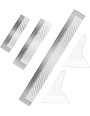 3 Pcs Diamond Painting Ruler Stainless Steel Diamond Mesh Ruler 5D Diamond Ruler Tool with 216, 400 and 800 Blank Grids, 2 Pieces Diamond Painting Fix Tool for DIY Diamond Painting Kits