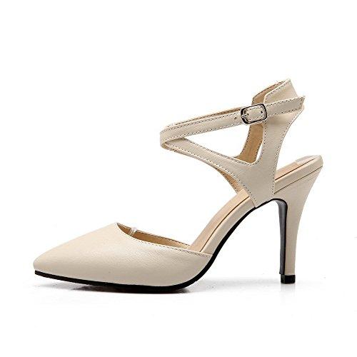 AllhqFashion Women's Buckle Closed Toe Spikes Stilettos Pu Solid Sandals Beige XrLiyp