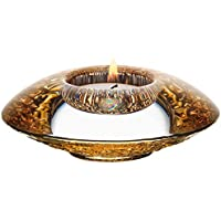 """Orrefors Discus Crystal Votive, 1 3/4"""" x 4 3/8"""", Gold"""