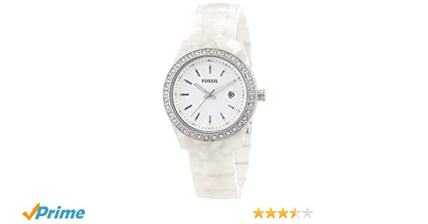 Amazon.com: Fossil Womens ES2670 White Plastic Bracelet White Glitz Analog Dial Watch: Fossil: Watches