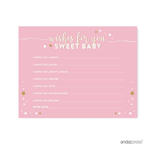 Andaz Press Twinkle Twinkle Little Star Pink Baby Shower Collection, Wishes for Baby Cards, 20-Pack, Games Activities and - Little Wish Pink