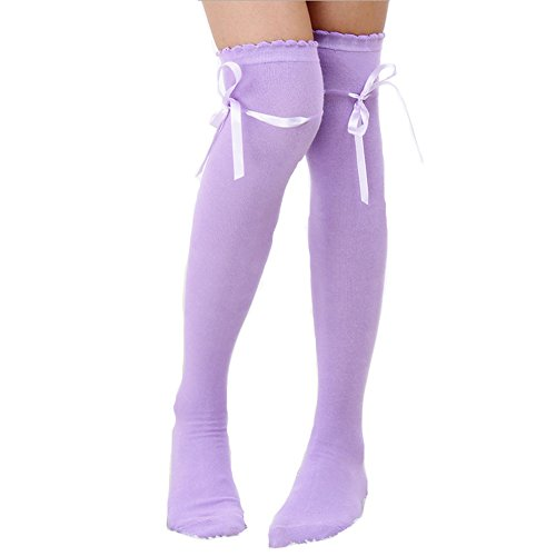 SHEMILY Women's Thigh High Socks Over Knee Lolita Lace Up Gothic Thigh Stocking WZ2 (Pruple) ()
