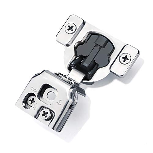 Luokim 4pcs Soft-Close Face Frame Hinges with Built-in Damper,1-1/4'' Overlay,Cabinet Concealed Hinges,Nickel - 4 Overlays