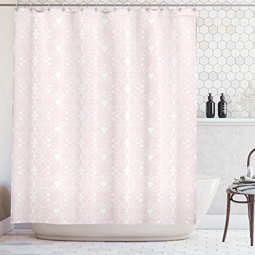 Ambesonne Pink and White Shower Curtain, Victorian Style Girly Feminine Pattern with Curly Leaves Hearts and Flowers, Cloth Fabric Bathroom Decor Set with Hooks, 70 Inches, Blush White