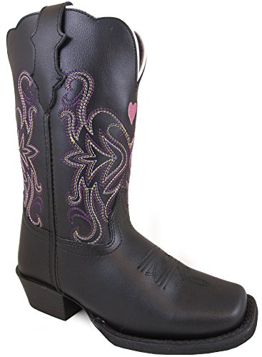 Smoky Mountain Children's Rockin Heart Pull On Straps Stitched Design Square Toe Black Boots (Black Patent Cowboy Boots)