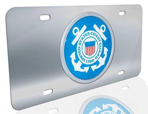 Elektroplate United States Coast Guard 1790 Anchor Stainless Steel License Plate