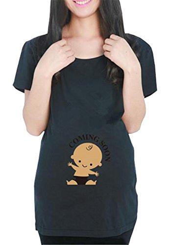 Sciolto Gravidanza Taglie Manica Pregnancy Casual Shirt Incinta Maglietta Forti Superiori Black2 Camicetta Donna Top Maternity Semplice Corta T FONLONLON Bluse Estive zw6nOxpn