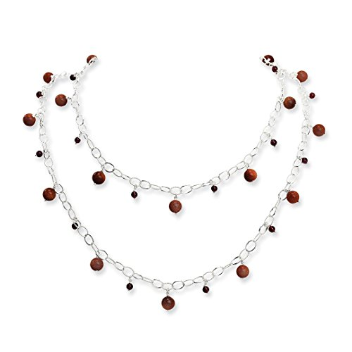 ICE CARATS 925 Sterling Silver Sun Stone Red Garnet Chain Necklaces Gemstone Fine Jewelry Gift Set For Women Heart by ICE CARATS (Image #3)