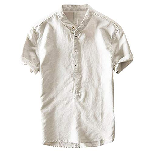 Denim Collar Job Shirt - OVERDOES Men's Collar Slim Fit Short Sleeve Casual Loosen Button Down Dress Shirts Beige